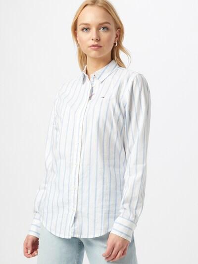 Tommy Jeans Bluza | svetlo modra / bela barva, Prikaz modela