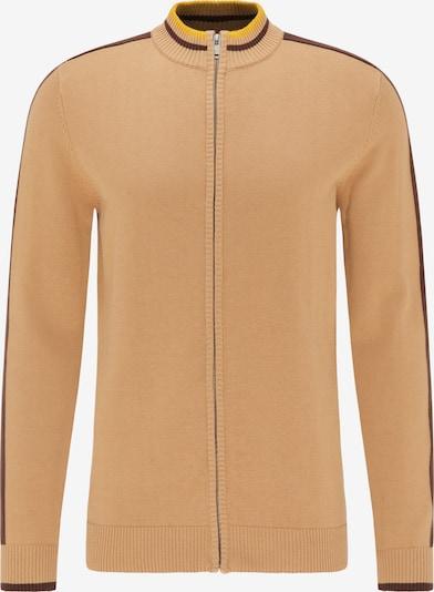 Geacă tricotată MO pe maro deschis / maro închis / galben auriu, Vizualizare produs
