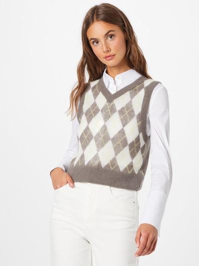 WEEKDAY Pullover 'Peachy' in dunkelbeige / hellgelb / weiß, Modelansicht