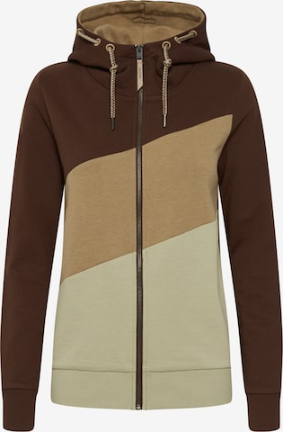 Oxmo Zip-Up Hoodie 'AGGI' in Brown