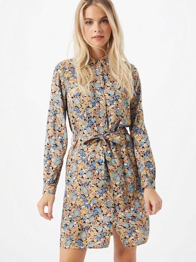PIECES Kleid in hellbeige / taubenblau / hellblau / braun / gelb / schwarz / weiß, Modelansicht