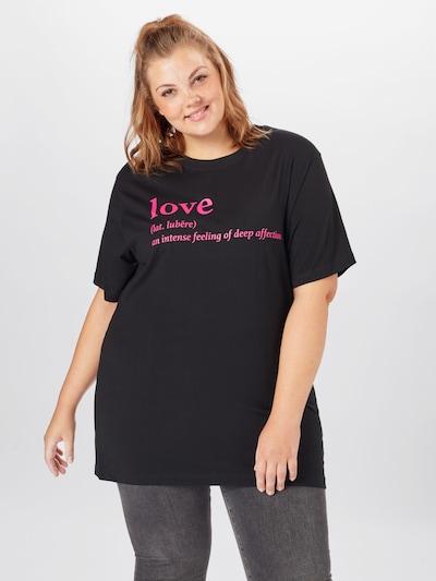 Mister Tee Curvy Shirt 'Love Definition' in neonpink / schwarz: Frontalansicht