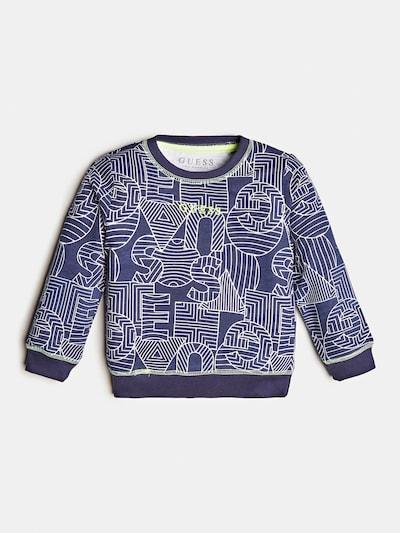 GUESS KIDS Sweatshirt in blau / dunkelblau / neongrün / weiß, Produktansicht