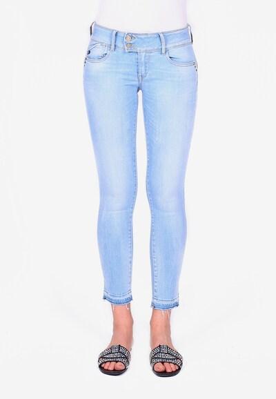 Le Temps Des Cerises Jeanshose PULPC mit ausgefallenem Bund in blau, Modelansicht
