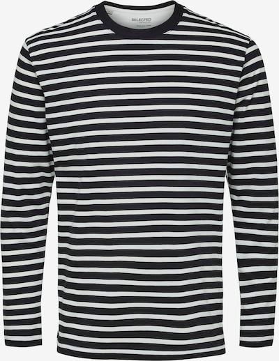 SELECTED HOMME Shirt 'SLHRELAXCOLMAN200 LS O-NECK TEE S' in de kleur Zwart / Wit, Productweergave
