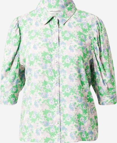 Lollys Laundry Bluse in grün / pastelllila, Produktansicht