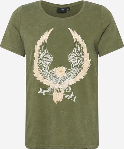 Zizzi T-shirt i oliv / persika / vit, Produktvy