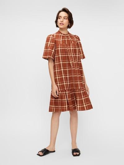 Y.A.S Kleid 'Freya' in rostbraun / naturweiß, Modelansicht