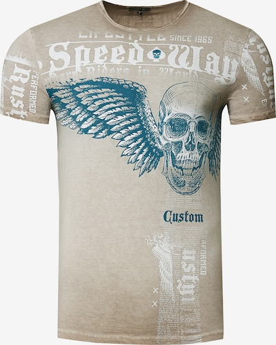 Rusty Neal T-Shirt mit 'Flying Skull' Front Print in stone, Produktansicht