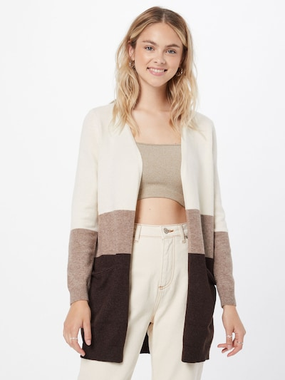 ONLY Knit Cardigan 'Queen' in Chestnut brown / Light brown / natural white, View model