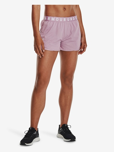 UNDER ARMOUR Workout Pants 'Play Up' in Pink / White: Frontal view