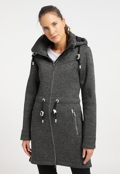 ICEBOUND Gebreide mantel in de kleur Grafiet, Modelweergave