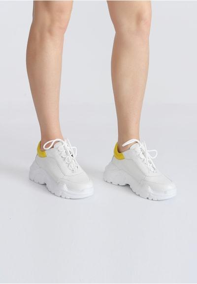 Ekonika Bequeme Sneaker aus echtem Leder in gelb / weiß: Frontalansicht