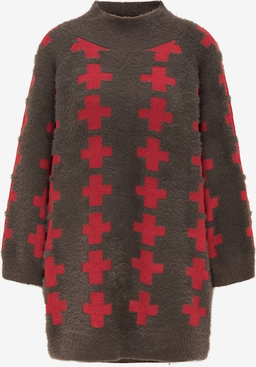 myMo ROCKS Pullover in braun / rot, Produktansicht