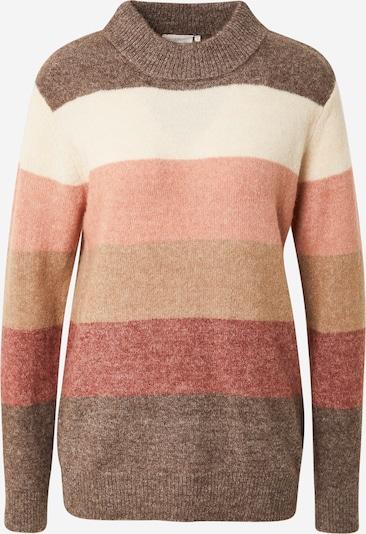 Kaffe Pullover 'Lorria' in hellbraun / braunmeliert / rosa / weinrot / naturweiß, Produktansicht