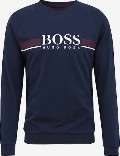 Bluză de molton BOSS Casual pe albastru închis / roșu vin / alb, Vizualizare produs