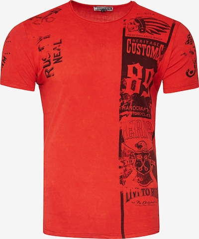 Rusty Neal T-Shirt mit modernem Front & Back Print in rot: Frontalansicht