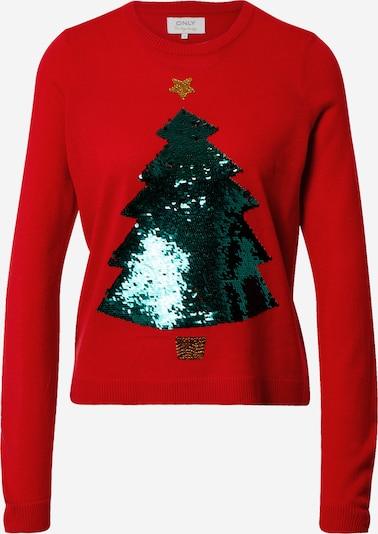ONLY Pullover 'Xmas' in gold / grün / rot, Produktansicht