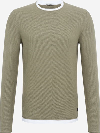 TOM TAILOR DENIM Pullover in oliv / offwhite, Produktansicht