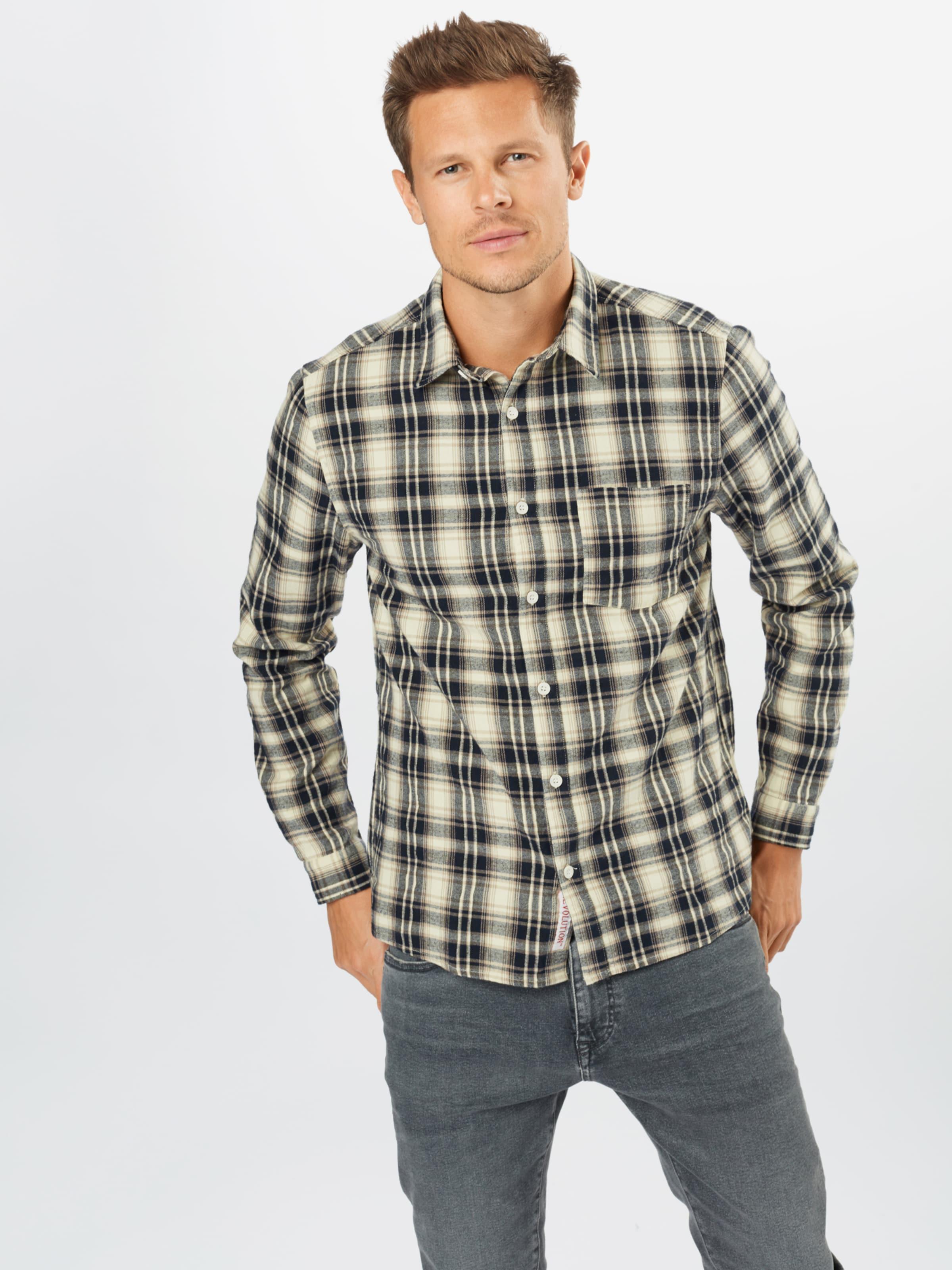 Revolution Hemd in creme / kitt / nachtblau / graumeliert Baumwolle REV0347001000001