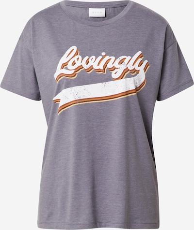 VILA Majica 'JAMILLA' u taupe siva / tamno narančasta / bijela, Pregled proizvoda