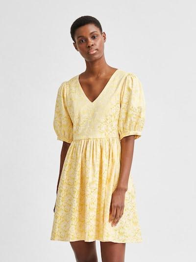 SELECTED FEMME Kleid 'Joyce' in goldgelb / weiß, Modelansicht
