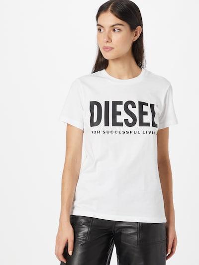 DIESEL Тениска в черно / мръсно бяло: Изглед отпред