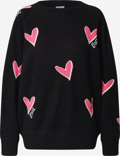 BOSS Džemperis 'Furva' rozā / melns / balts, Preces skats