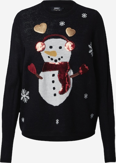 ONLY Pulover 'XMAS EXCLUSIVE SNOWMAN' | mešane barve / črna barva, Prikaz izdelka