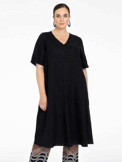 Yoek Kleid 'Linen' in schwarz, Modelansicht