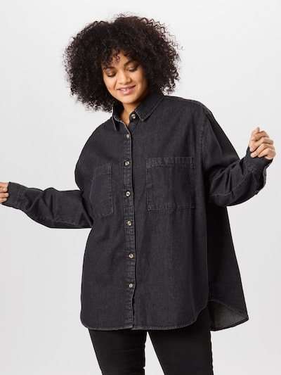 Urban Classics Curvy Bluse in black denim, Modelansicht