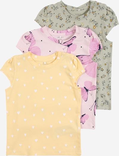 NAME IT Shirt 'Sonya' in nachtblau / gelb / pastellgelb / pastellgrün / dunkelgrün / pastellpink / hellpink / weiß, Produktansicht