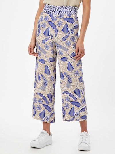 Cecilie Copenhagen Trousers 'Francecsa' in Beige / Blue / Light brown, View model