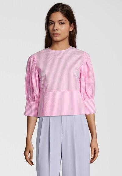 SCOTCH & SODA Bluse mit breitem Saum in pink / weiß, Modelansicht