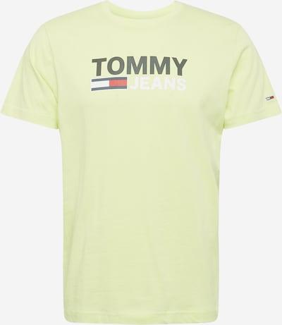 Tommy Jeans Тениска в лайм / черно / бяло: Изглед отпред