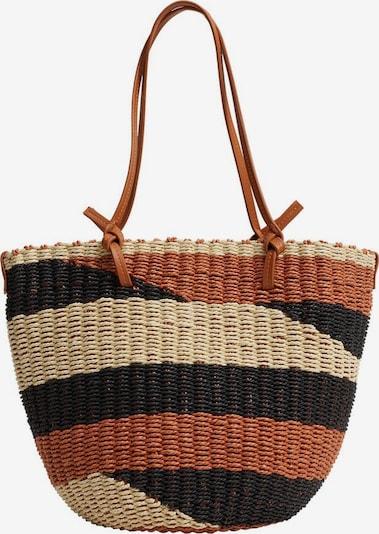 MANGO Strandtasche in cognac / taupe / schwarz, Produktansicht