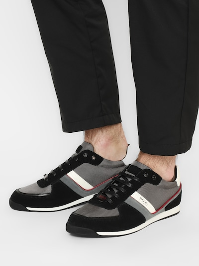 BOSS Casual Sneaker 'Glaze' in grau / anthrazit / rot / weiß: Frontalansicht