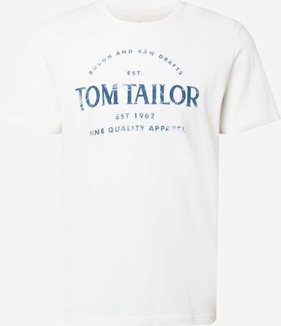 TOM TAILOR Тениска в морскосиньо / мръсно бяло: Изглед отпред