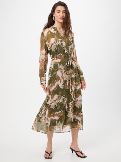 Rochie tip bluză 'Elektra' HUGO pe maro caramel / oliv / negru / alb, Vizualizare model
