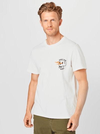 Nudie Jeans Co Shirt 'Roy' in orange / schwarz / naturweiß: Frontalansicht