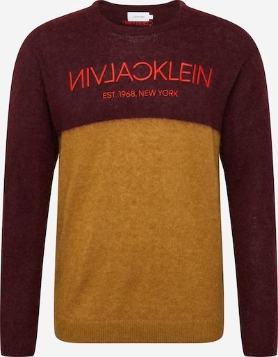 Calvin Klein Trui in de kleur Honing / Wijnrood, Productweergave