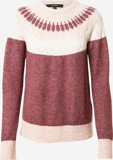 VERO MODA Pullover in puder / weinrot / weiß, Produktansicht