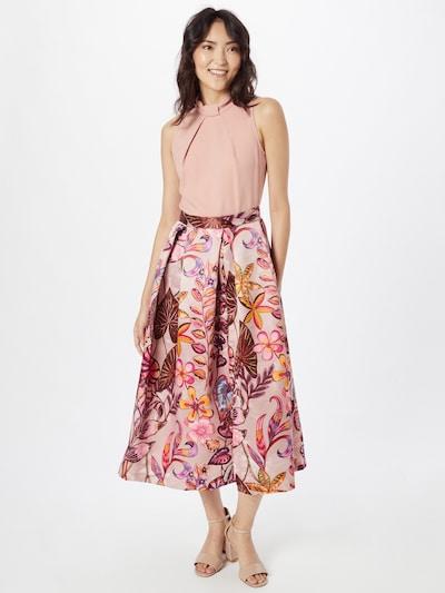 Closet London Kleid in goldgelb / helllila / rosa / burgunder / pastellrot, Modelansicht