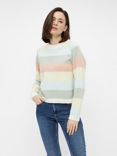 PIECES Pullover 'GYMMA' in hellblau / hellgelb / pastellgrün / pastellorange / weiß, Modelansicht