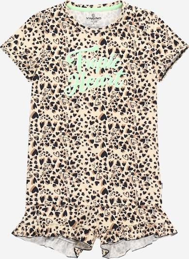 VINGINO Nachtkledij 'WILD FLOWER HEART' in de kleur Sand / Bruin / Jade groen / Zwart, Productweergave