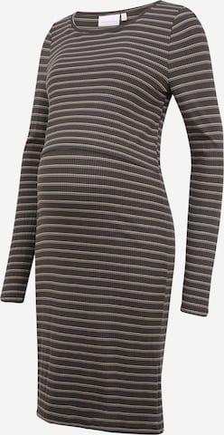 MAMALICIOUS Stickad klänning 'CARMA' i grå