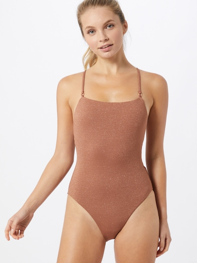 Seafolly Badpak 'Maillot' in de kleur Roestbruin, Modelweergave
