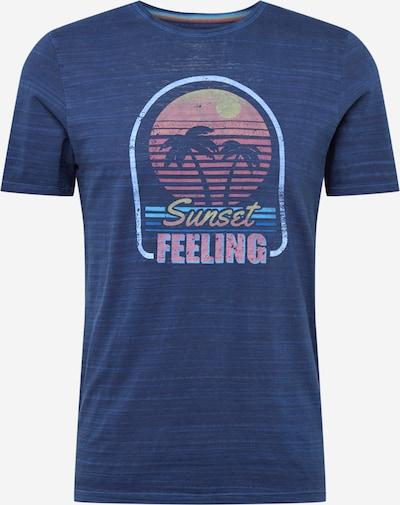 COLOURS & SONS T-Shirt 'The Luis Story' en azur / bleu foncé / jaune pastel / orange pastel / rose pastel, Vue avec produit