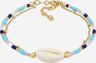ELLI Armband Multi-Color, Muschel in blau / türkis / gold / naturweiß, Produktansicht