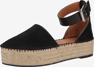 SHABBIES AMSTERDAM Strap Sandals in Black